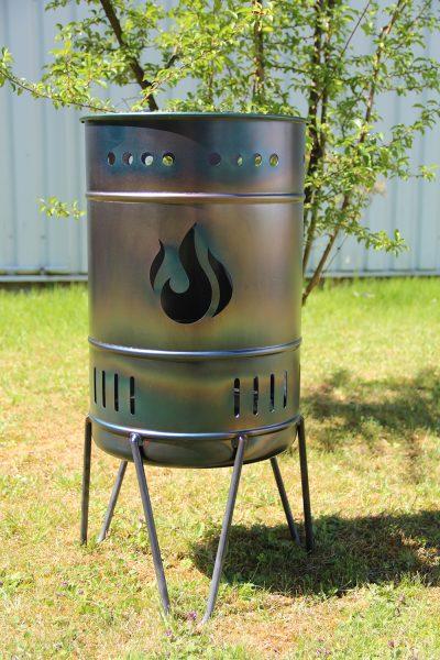 Feuerkorb 50 Liter Stahl mit Motiv Flamme
