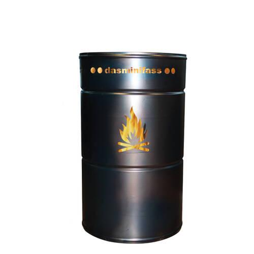 Stahlbude Minifass 80 Liter mit Motiv Lagerfeuer