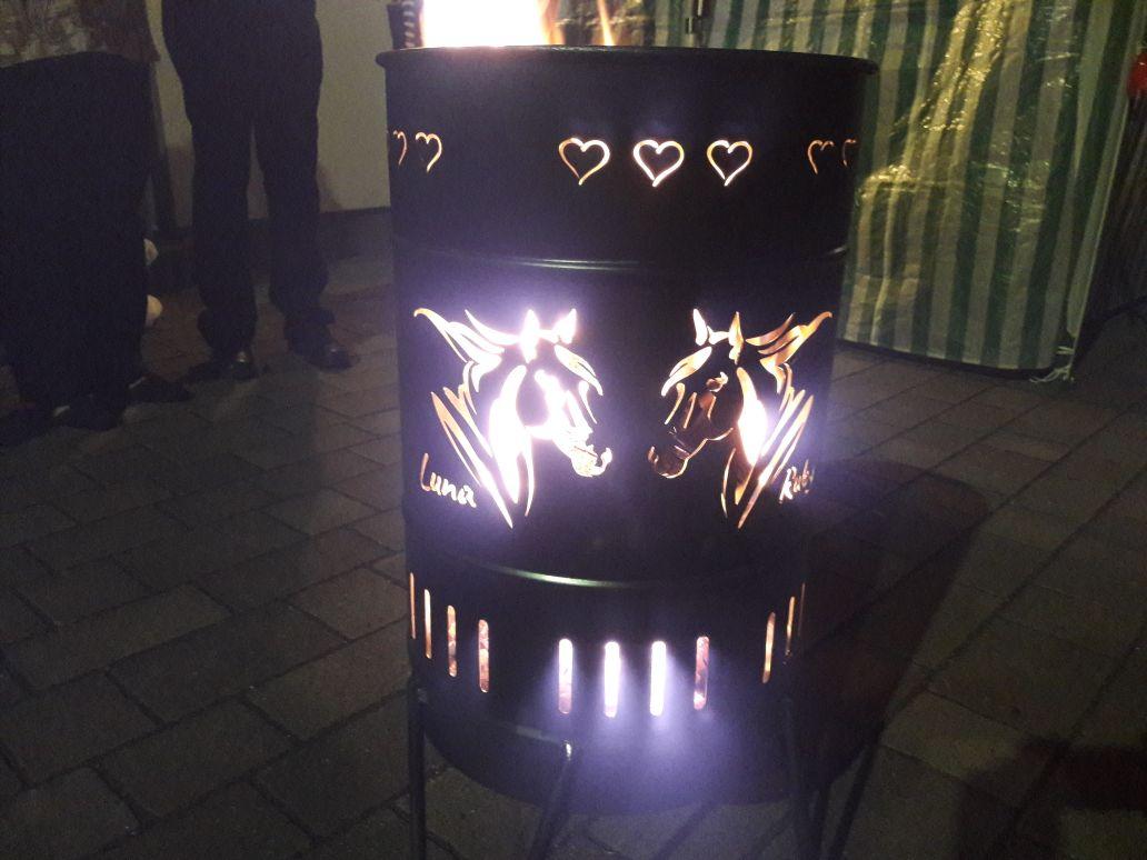 individuell gestalteter Feuerkorb 50 Liter Pferdekopf